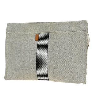 Hermes Cotton,Leather Clutch Bag Gray